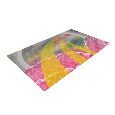 Infinite Spray Art Enlightening Pink/Yellow Area Rug Rug Size: 4 x 6