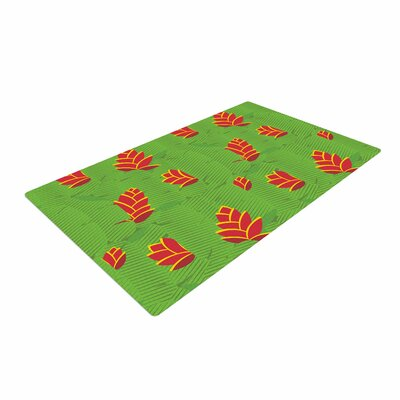 Yenty Jap Heliconia Green/Red Area Rug