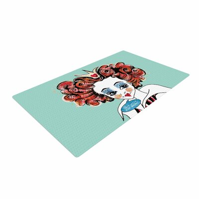 Zara Martina Queen Redhead Teal/Red Area Rug