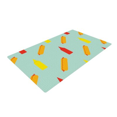 Will Wild Hot Dog Pattern Food Green/Yellow Area Rug