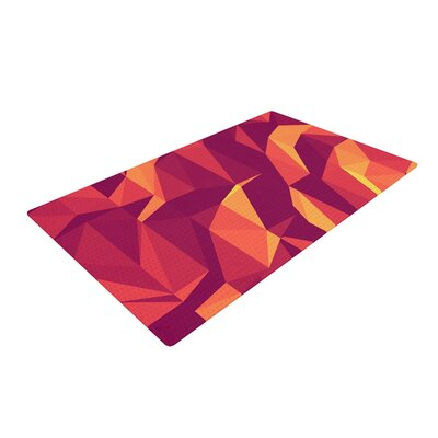 Strawberringo Abstract Mountains Orange Area Rug