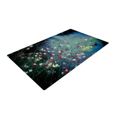 Ann Barnes Monets Dream Dark Flower Black/Pink Area Rug