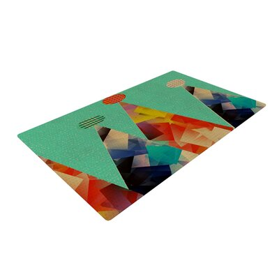 Bri Buckley Rainbow Peaks Triangles Teal Area Rug Rug Size: 2 x 3