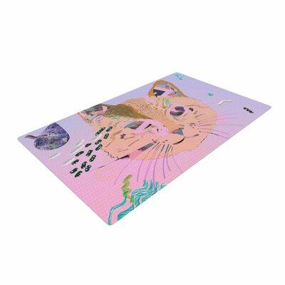 Vasare Nar Psychedelic Cat Pastel/Lavender Area Rug