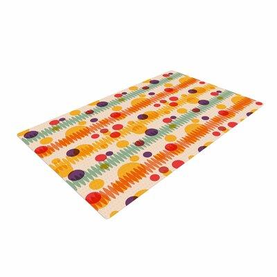 Yenty Jap Bubble Stripes Fun Geometric Orange Area Rug