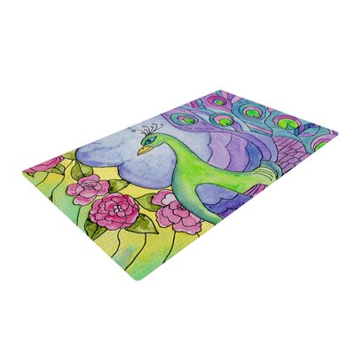 Catherine Holcombe Stained Glass Watercolor Peacock Purple/Green Area Rug Rug Size: 4 x 6