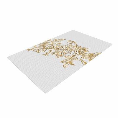 888 Design Vintage Rose Floral Digital Gold Area Rug Rug Size: 4 x 6