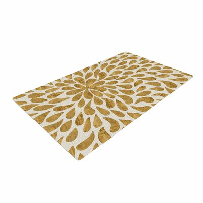 888 Design Abstract Flower Gold/Tan Area Rug Rug Size: 2 x 3