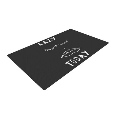 Vasare Nar Lazy Today Typography Gray Area Rug