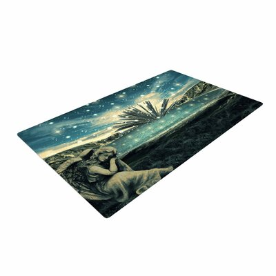 888 Design The Knowledge Keeper Fantasy Blue Area Rug Rug Size: 2 x 3