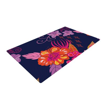 Anneline Sophia Tropical Paradise Floral Purple Area Rug Rug Size: 4 x 6