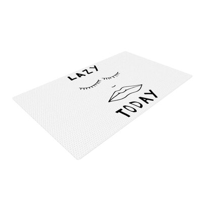 Vasare Nar Lazy Today Typography White Area Rug