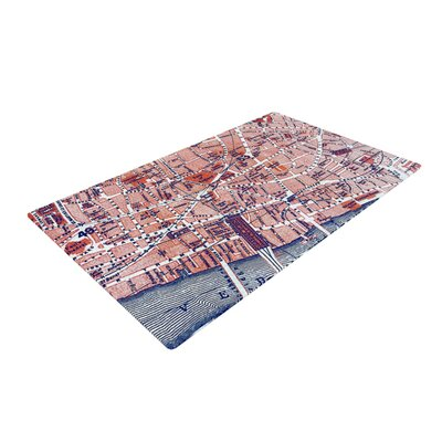 Alison Coxon City of London Map Red/Blue Area Rug Rug Size: 2 x 3