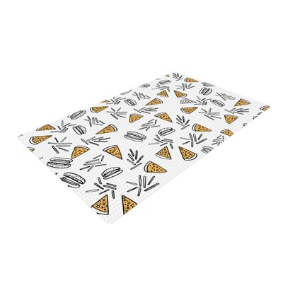 Vasare Nar Burgers and Pizza Food White/Yellow Area Rug