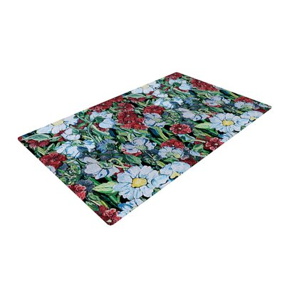 DLKG Design Giardino Garden Flowers Red/Blue Area Rug Rug Size: 4 x 6