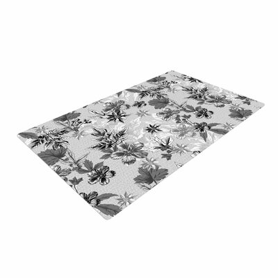 Victoria Krupp Engraving Flowers Floral Gray Area Rug