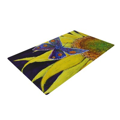 David Joyner Butterfly Blue/Yellow Area Rug Rug Size: 4 x 6