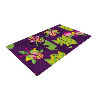 Yenty Jap Orchids Festival Purple/Green Area Rug