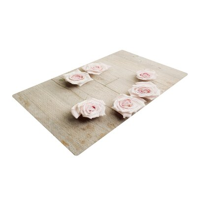 Cristina Mitchell Smile Wood Roses Gray/Pink Area Rug Rug Size: 2 x 3