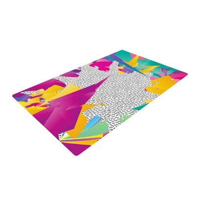 Danny Ivan 80s Abstract Pink/Teal Area Rug Rug Size: 4 x 6