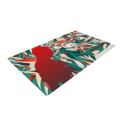 Danny Ivan Soccer Headshot Teal/Red Area Rug Rug Size: 2 x 3
