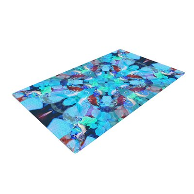 Danii Pollehn the Moon and a Fox Aqua/Blue Area Rug Rug Size: 4 x 6