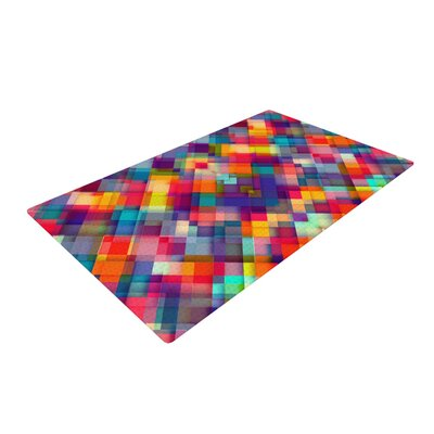 Danny Ivan Squares Everywhere Rainbow Shapes Red/Purple Area Rug Rug Size: 2 x 3