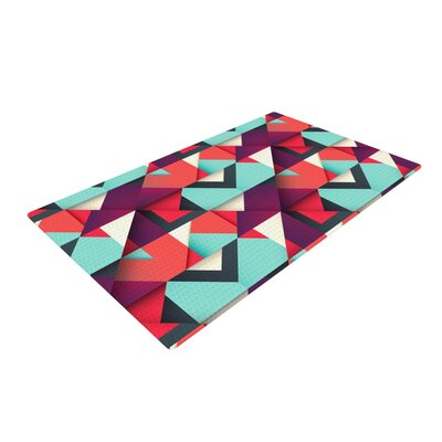 Danny Ivan Shapes Aqua/Purple Area Rug Rug Size: 2 x 3