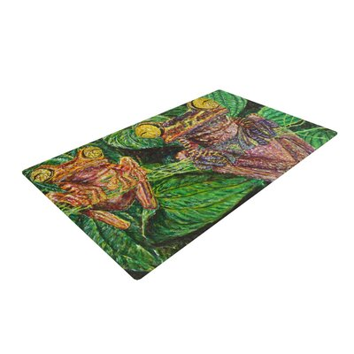 David Joyner Frogs Green/Red Area Rug Rug Size: 2 x 3