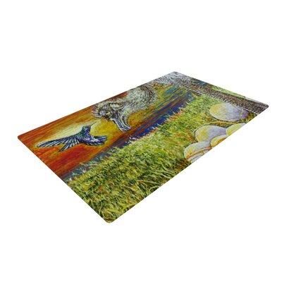 David Joyner Ostrich Orange/Green Area Rug Rug Size: 4 x 6