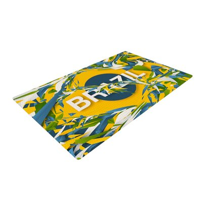 Danny Ivan Brazil World Cup Yellow/Blue Area Rug Rug Size: 4 x 6