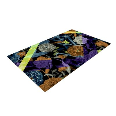 Gabriela Fuente Wonder Flower Dark Blue/Orange Area Rug Rug Size: 2 x 3