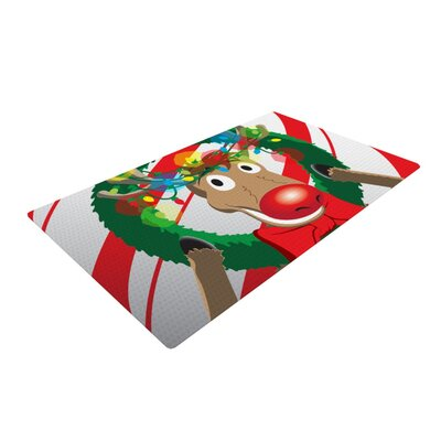 Reindeer Seasonal Red/White Area Rug Rug Size: 2 x 3