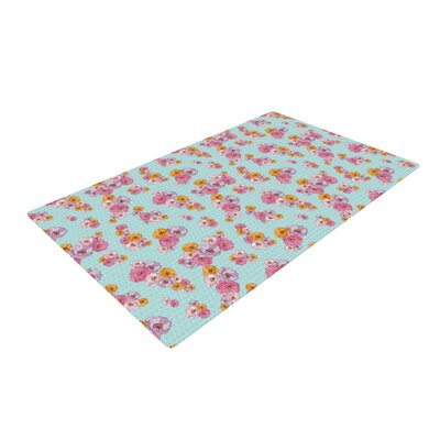 Laura Escalante Paper Flower Blue/Pink Area Rug Rug Size: 4 x 6