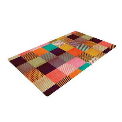 Louise Machado Decorative Pixel Warm Patches Brown/Black Area Rug Rug Size: 4 x 6
