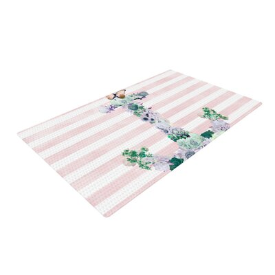 Nika Martinez Floral Anchor Stripes Pink Area Rug Rug Size: 4 x 6