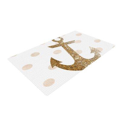 Nika Martinez Glitter Anchor Sparkles Gold Area Rug Rug Size: 4 x 6