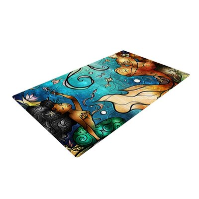 Mandie Manzano Under the Sea Mermaids Blue Area Rug Rug Size: Rectangle 4 x 6