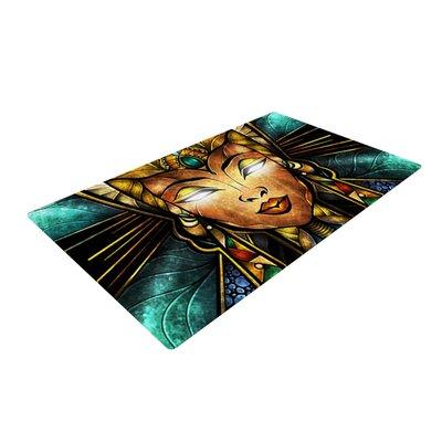 Mandie Manzano Nefertari Teal/Tan Area Rug Rug Size: 2 x 3