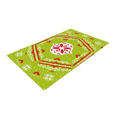 Miranda Mol Snow Joy Green/Red Area Rug Rug Size: 2 x 3