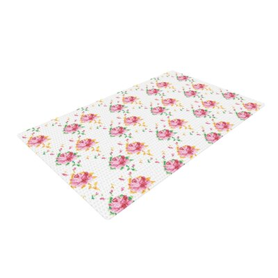 Laura Escalante Cross Stitch Flowers White/Pink Area Rug Rug Size: 2 x 3
