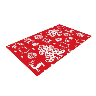 Miranda Mol Warm Winter White/Red Area Rug Rug Size: 2 x 3