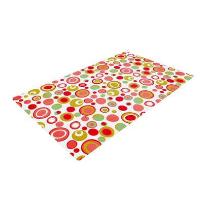 Louise Machado Bubbles Warm Circles Green/Red Area Rug Rug Size: 4 x 6