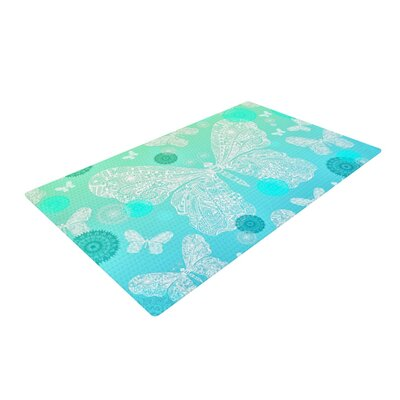 Monika Strigel Butterfly Dreams Mint/Teal Area Rug Rug Size: 4 x 6