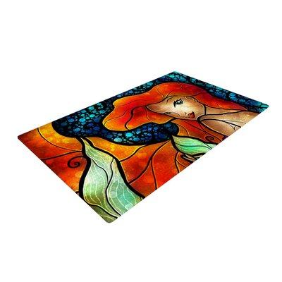 Mandie Manzano Ariel Mermaid Blue/Orange Area Rug Rug Size: 4 x 6