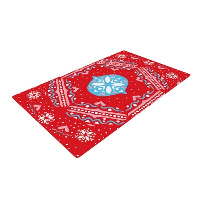 Miranda Mol Snow Joy Blue/Red Area Rug Rug Size: Rectangle 2 x 3