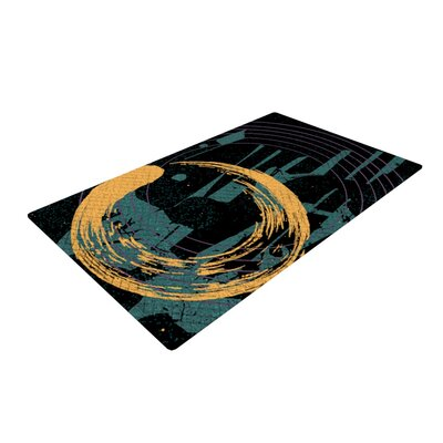 Micah Sager Weekend Teal/Orange Area Rug Rug Size: 2 x 3