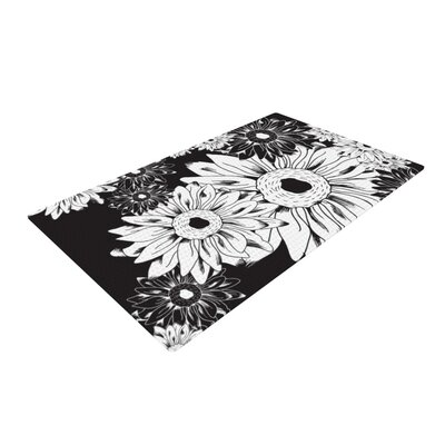 Laura Escalante Midnight Floral Sunflower Black Area Rug Rug Size: 4 x 6