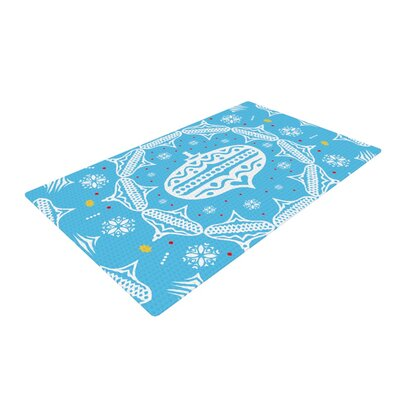 Miranda Mol Deco Wreath Blue Area Rug Rug Size: Rectangle 2 x 3
