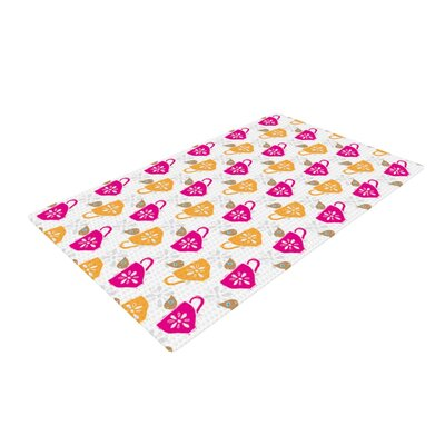 Apple Kaur Designs Tea-Birds Orange/Pink Area Rug